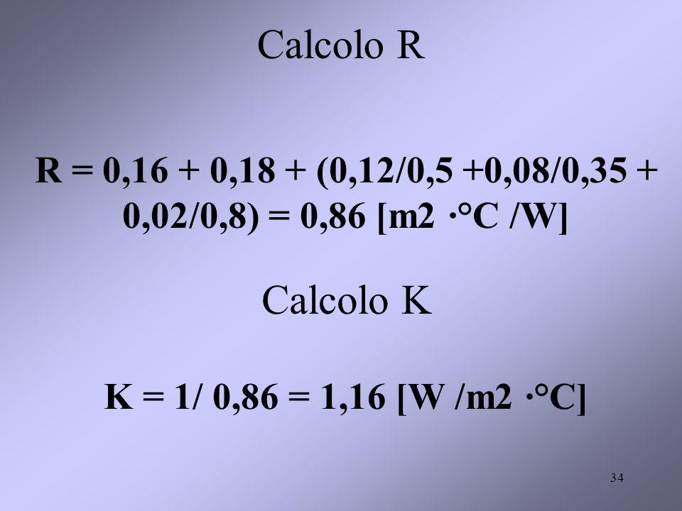 R = 0,16 + 0,18 + (0,12/0,5 +0,08/0,35 + 0,02/0,8) = 0,86 [m2 ·°C /W]